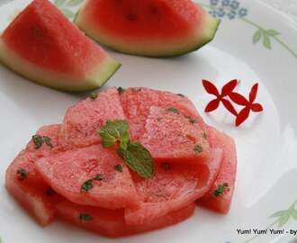 Watermelon Salad w/ Lime and Minty Dressing