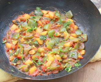 Aloo Capsicum Subji ~ Potato Bell Pepper Curry ( Step- by - Step)