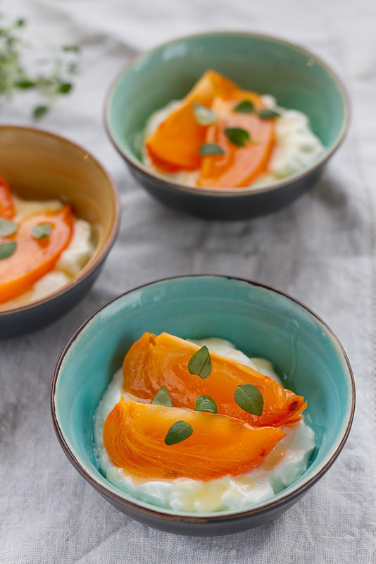 Persimmon with honeyed yoghurt