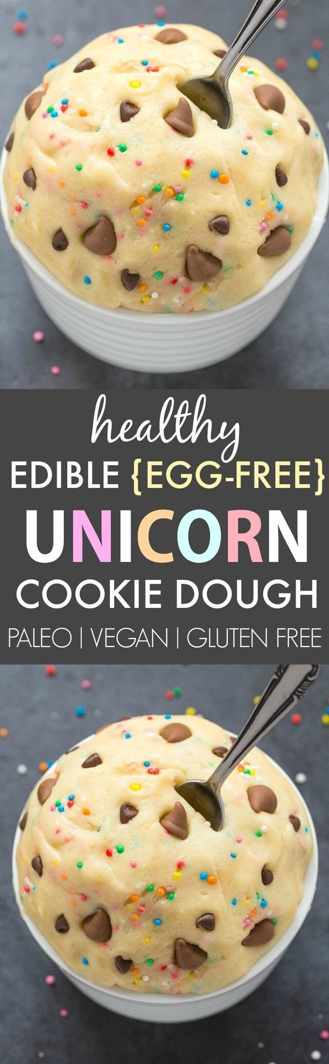 Healthy Edible Egg-Free Unicorn Cookie Dough (Paleo, Vegan, Gluten Free)