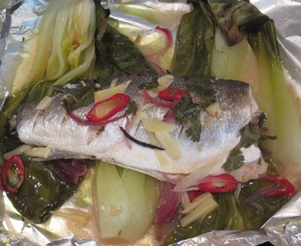 Steamed Sea Bass and Pak Choi with a Spicy Asian Ginger Kick