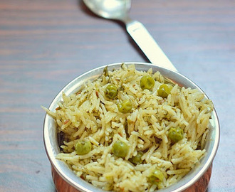 Mint peas pulao recipe - pudina matar pulao- easy pressure cooker rice recipes