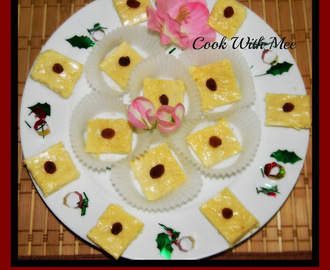 Bhapa Amsatto Sandesh or Baked Mango Pulp Sweet