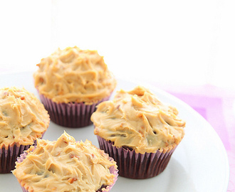 Dark chocolate cupcakes with peanut butter cream cheese frosting