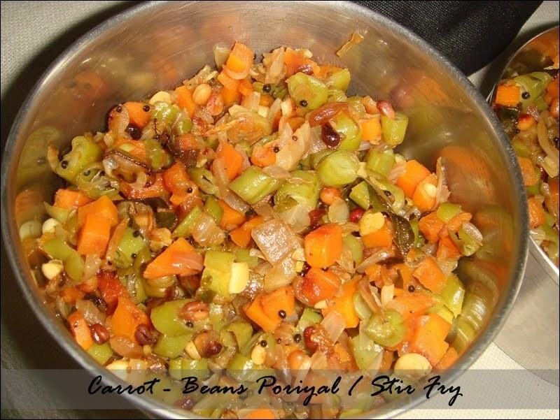 Carrot - Beans Poriyal / Stir Fry