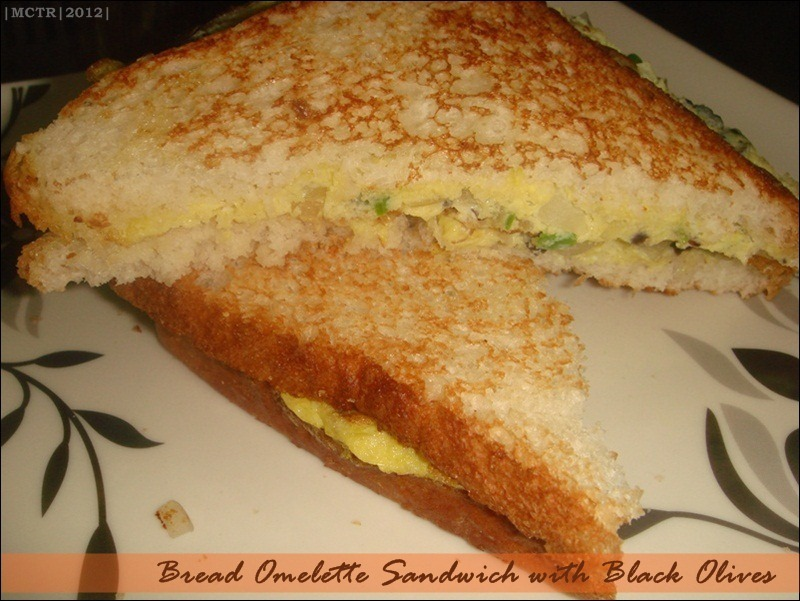 Bread Omelette Sandwich with Black Olives