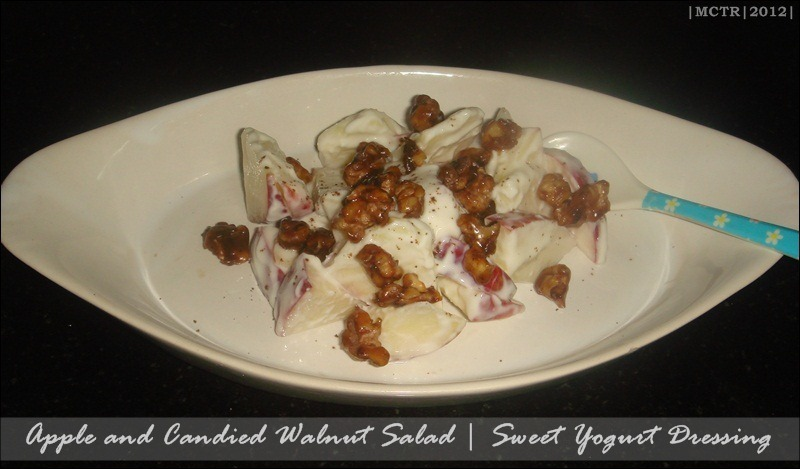 Cold Apple & Candied Walnut Salad with Honey Yogurt Dressing