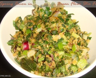 Spring Onion in Besan Flour Stir Fry