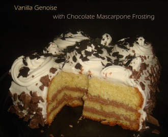Vanilla Genoise with Chocolate Mascarpone frosting | A birthday cake for him