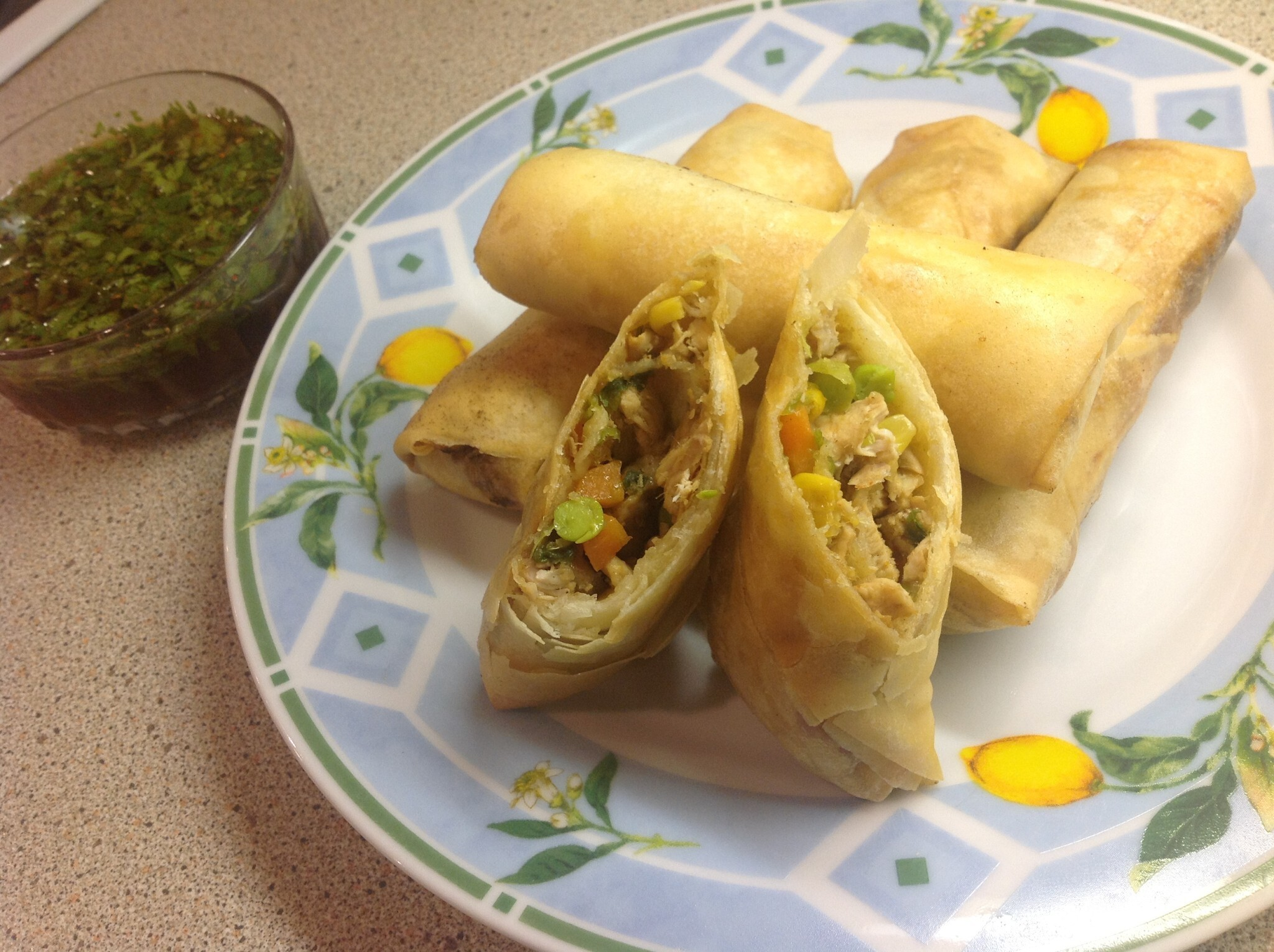 Chicken and Vegetable Spring Rolls with Chilli Dipping Sauce