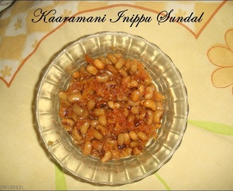 Day 6#: Kaaramani Inippu Sundal / Sweet Cow Gram Sundal | Navarathiri Recipes