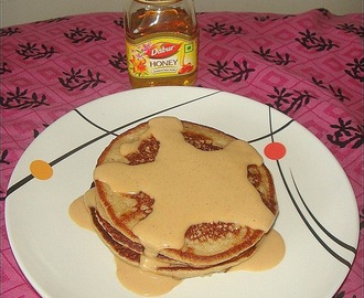 Whole Wheat Banana Pancakes WITH Peanut Butter Sauce