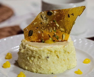 An Italian Classic Gets an Indian Twist, Mango Panna Cotta With Salted Pistachio Brittle.