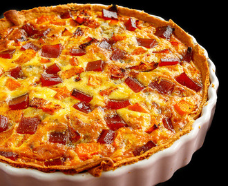 Quiche met membrillo en stilton