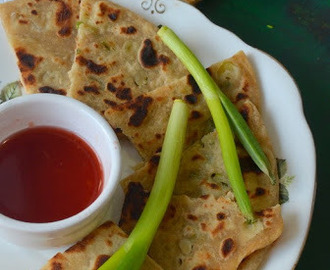 Chinese Scallion Pancakes - Spring onion Paratha