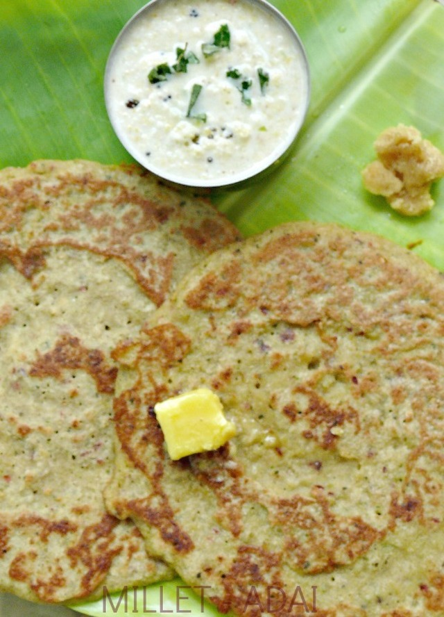 millet recipe/(kuthiraivalli,thinai and samai adai)/millets adai