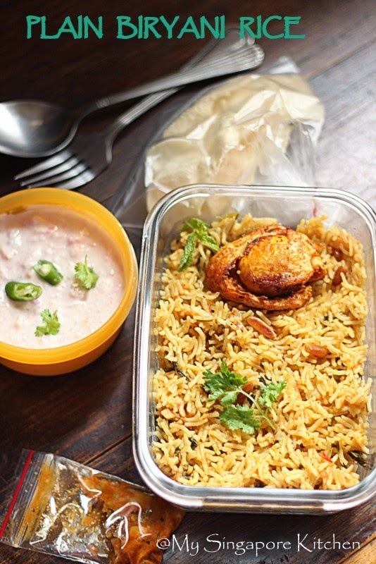 Plain Biryani Rice with Egg masala fry