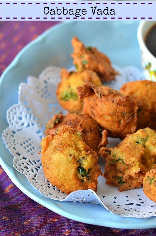 Cabbage Vada :: Deep fried Lentil Fritters :: South Indian Vada recipe