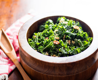 Kale Salad With Oven-Dried Grapes, Toasted Walnuts, and Blue Cheese Recipe