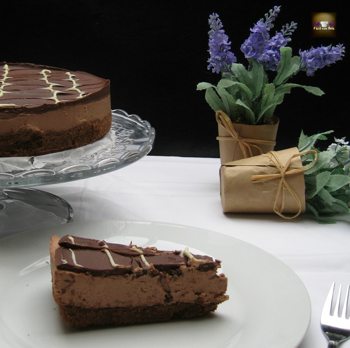 Tarta de queso y chocolate sobre galleta SIN HORNO- Chocolate Cheesecake (Lorraine Pascale)