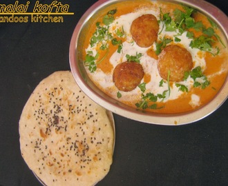 Malai kofta / Fried cottage cheese in a creamy gravy / step by step pics.