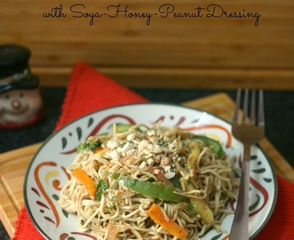 Stir-fry Veggie Noodles with Soya-Honey-Peanut Dressing