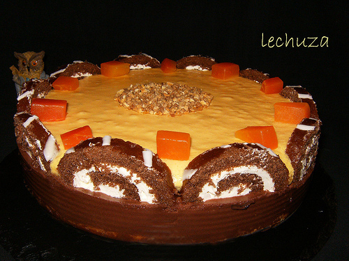 TARTA MOUSSE DE LIMON, CHOCOLATE Y MANGO