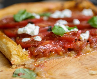 Tomato Tart with Red Onions, Feta Cheese and Basil.