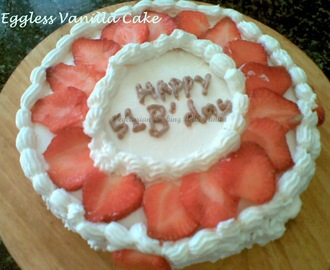 Eggless Vanilla Strawberry Cake
