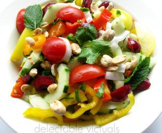 Cucumber, Cherries, Tri-color Mini Peppers, Tomato Salad