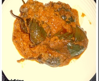 Bharleli Vaangi,(Stuffed Eggplant) Version II