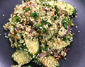 Courgettes and Onions with Quinoa (v)