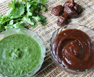 Chaat Chutnies – Sweet Sour Tamarind Date chutney and Green chutney