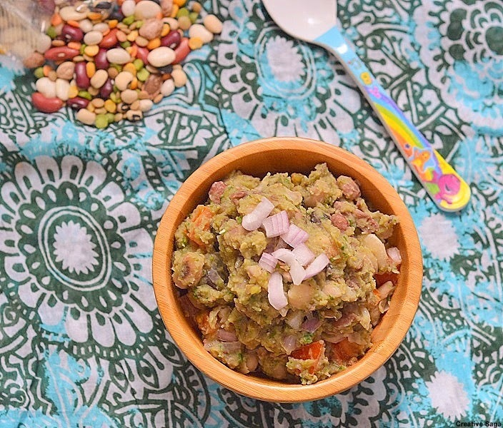 13 bean soup mix chaat recipe - 13 bean soup mix chundal- healthy snack recipes