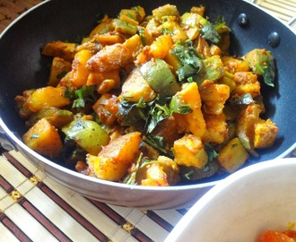 Potatoes and Eggplant stirfry ( Aaloo Baingan ki sabzi )