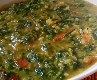 Methi dal. ( A tasty healthy lentil gravy simmered with goodness ofIndian spices and fenugreek leaves )