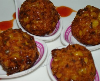 Masala Corn  Cheese Balls ( Corn and cheese mixed with cornflour , maida and deep fried )
