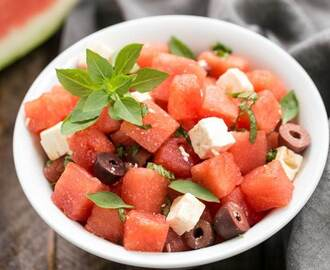 Watermelon Feta Basil Salad with Balsamic Vinaigrette