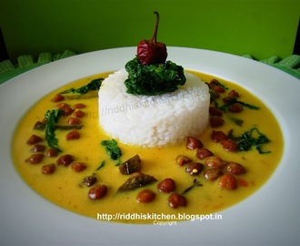 Kale chane Ki Kadhi  (A Sweet And Tangy Yogurt Flavored Kadhi)