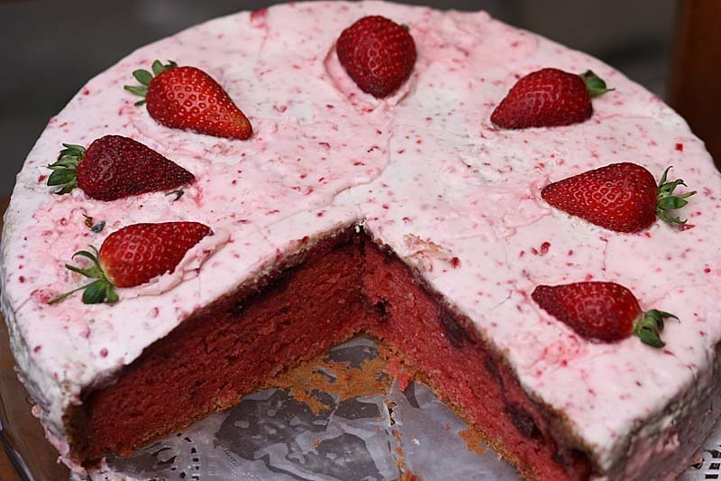 Red Velvet Strawberry Cake with Strawberry 'Cream Cheese' Frosting