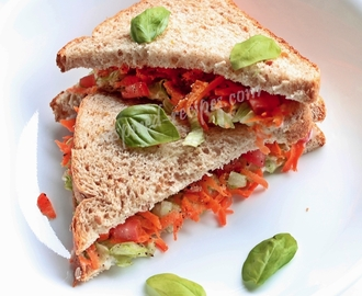 Carrot, Lettuce and Tomato Sandwich (healthy and tasty)