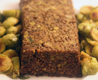 Lentil loaf with marmite potatoes