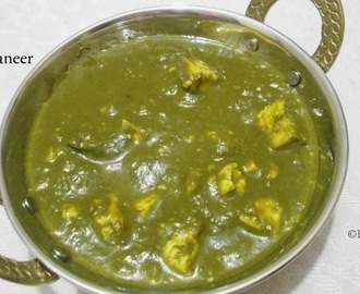 Palak Paneer | Paneer (Indian Cottage cheese ) in Spinach Sauce | Side dish for Roti /Indian Flat Bread