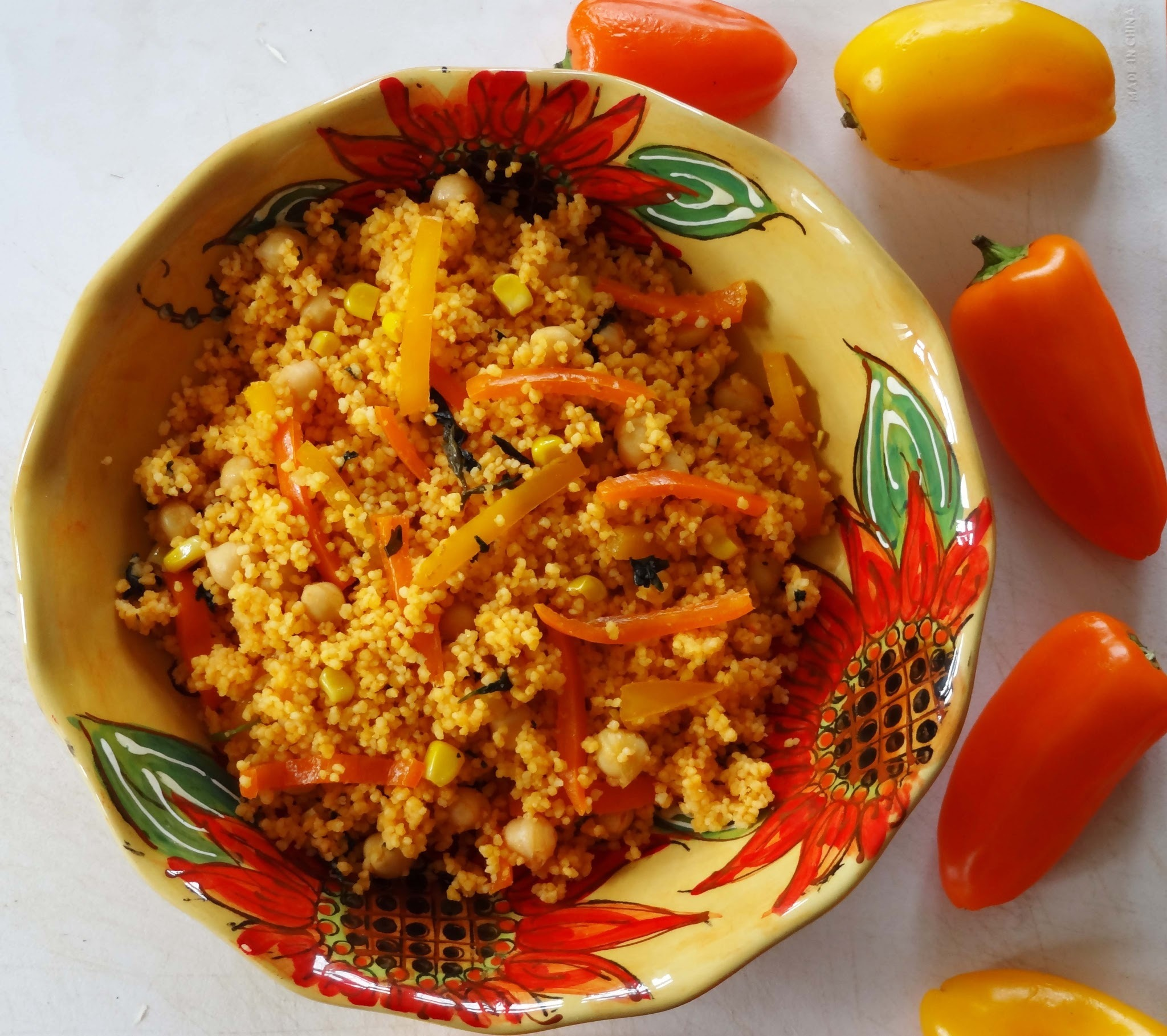 Sweetcorn, Chickpea and Pepper Couscous Salad with Harissa Oil
