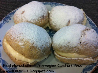 "Fastelavnsboller / ""Fastelavnsboller""- Norwegian Custard-filled Wheat Buns"