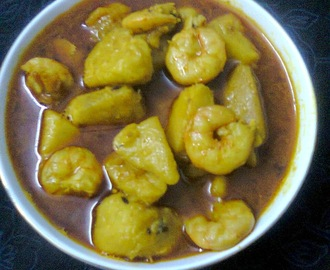 Ol Chingri / Elephant Foot yam gravy with Shrimp