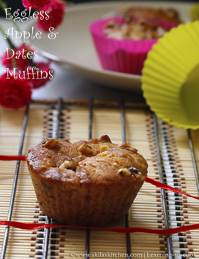 Eggless Apple and Dates Muffins | Eggless Muffin Recipes | Eggless Bakes | How to make Apple and Dates Muffins - Eggless version