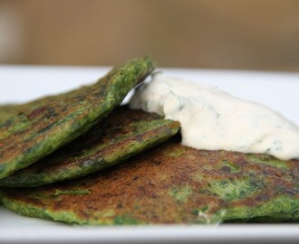 Spinach, spring onion and spice pancakes with lime and coriander crème fraîche