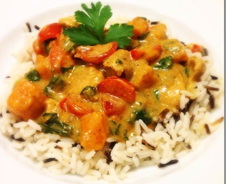 Kip curry met butternut pompoen.