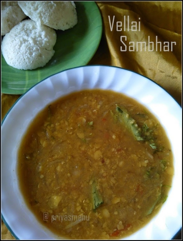 Vellai Sambhar / Easy Sambhar without using sambhar powder.